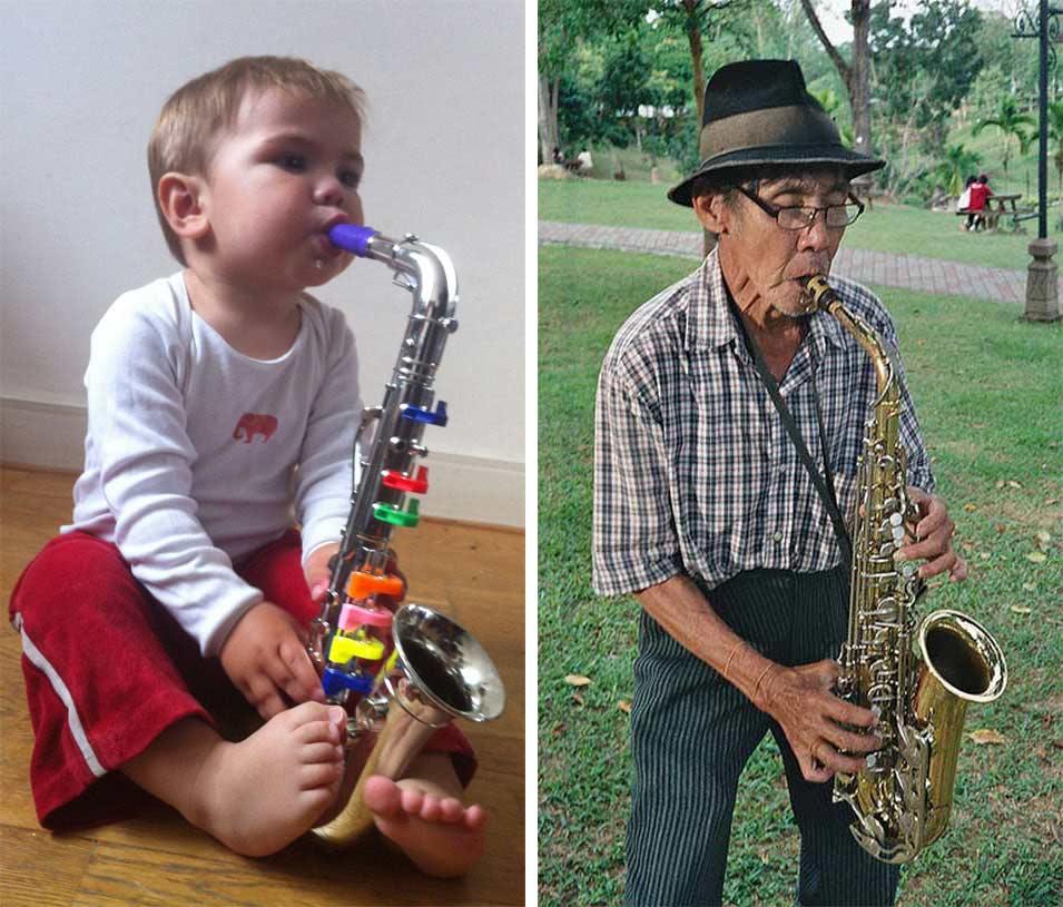 eerste saxofoonles op speelgoed saxofoon
